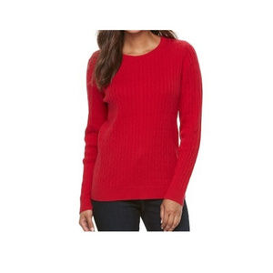 NEW Long Sleeve Cable Knit Crew Neck Sweater
